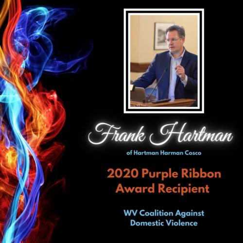 Frank Hartman of Hartman Hartman Cosco, 2020 Purple Ribbon Award Recipient, WV Coalition Against Domestic ViolenceScott Cosco of Hartman Hartman Cosco, 2020 Purple Ribbon Award Recipient, WV Coalition Against Domestic Violence
